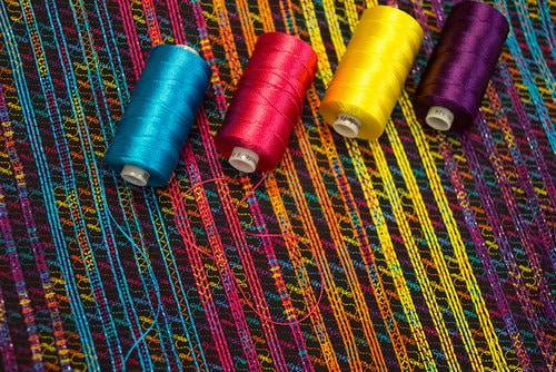 Razzle™ makes for a perfect couching thread that's easy to combine with a colourful or variegated top thread for extra emphasis.