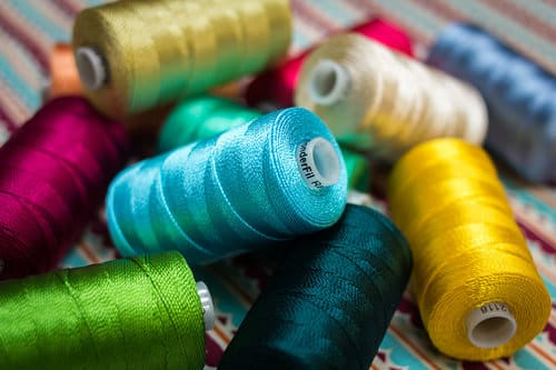 This 8wt rayon boldly and beautifully shows wherever it's stitched.
